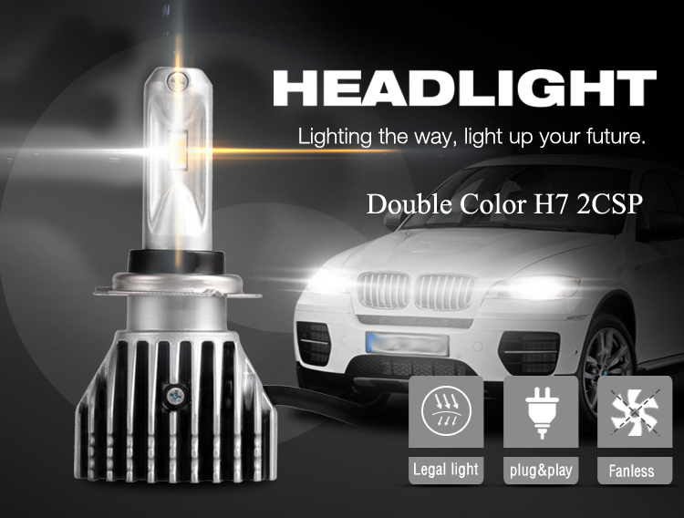 H7 LED Headlights Fanless 9-32V Dual Color White & Yellow
