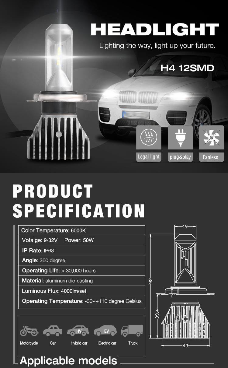 H4 LED Headlight Bulb 12SMD High Low Beam No Fan 40W 9-32V
