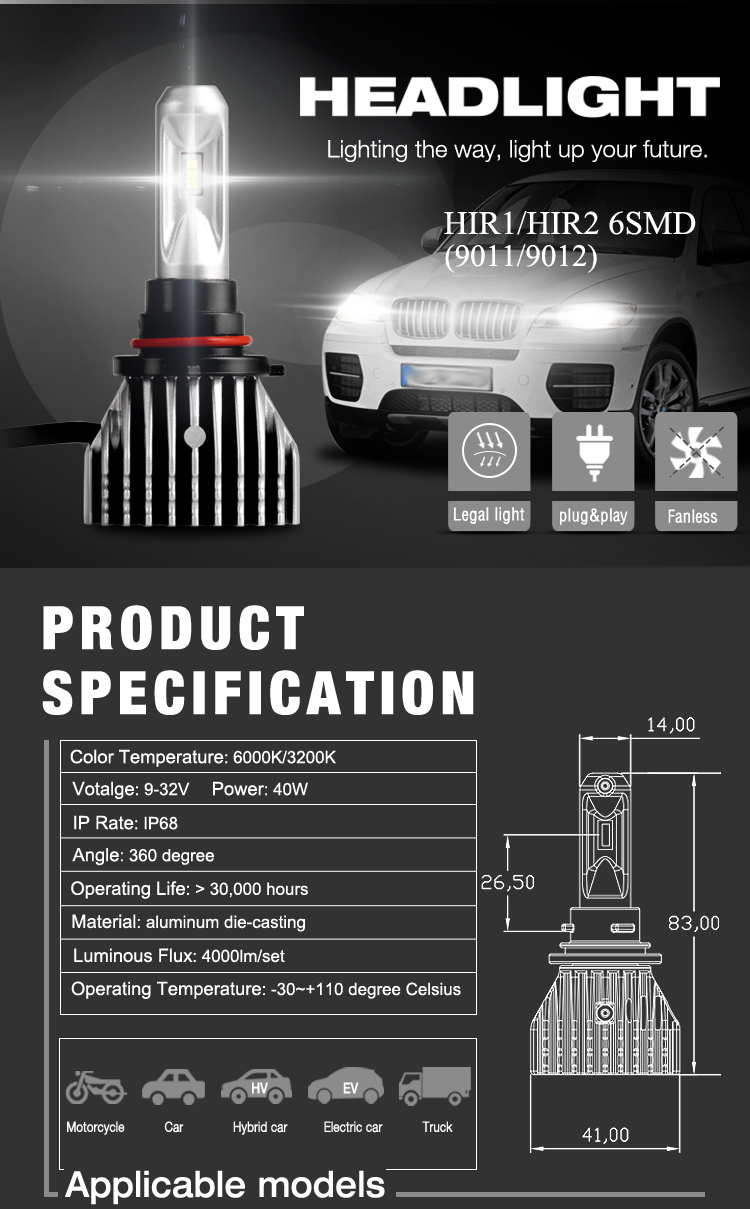 HIR1(9011) HIR2(9012) LED Headlight 6SMD Fanless 40W 4000LM White or Yellow